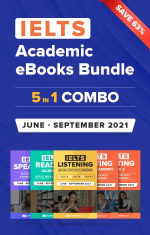 IELTS (Academic) 5 in 1 Actual Tests eBook Combo (June-September 2021) [Listening + Speaking + Reading + Writing Task 1+ Task 2]