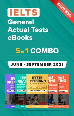 IELTS (General) 5 in 1 Actual Tests eBook Combo (June – September 2021) [Listening + Speaking + Reading + Writing Task 1+ Task 2]