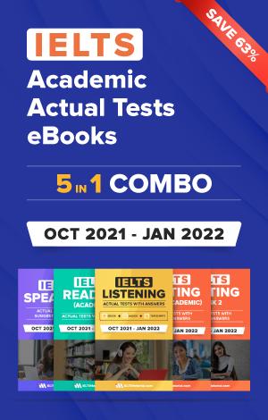 IELTS (Academic) 5 in 1 Actual Tests eBook Combo (Oct 2021 – Jan 2022) [Listening + Speaking + Reading + Writing Task 1+ Task 2]