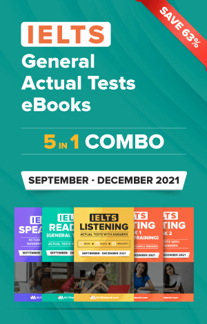 IELTS (General) 5 in 1 Actual Tests eBook Combo (September – December 2021) [Listening + Speaking + Reading + Writing Task 1+ Task 2]