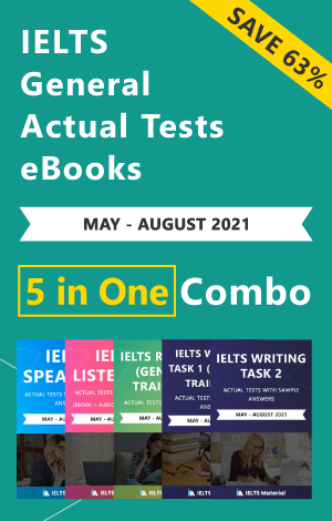 IELTS (General) 5 in 1 Actual Tests eBook Combo (May - August 2021) [Listening + Speaking + Reading + Writing Task 1+ Task 2]